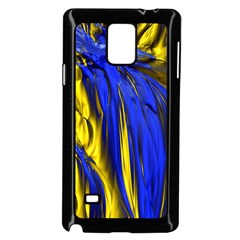 Blue And Gold Fractal Lava Samsung Galaxy Note 4 Case (black)