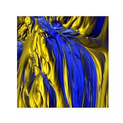 Blue And Gold Fractal Lava Small Satin Scarf (square) by Simbadda