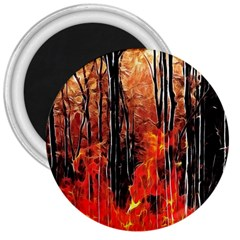 Forest Fire Fractal Background 3  Magnets by Simbadda