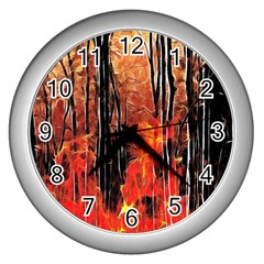Forest Fire Fractal Background Wall Clocks (silver)  by Simbadda
