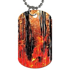 Forest Fire Fractal Background Dog Tag (one Side) by Simbadda