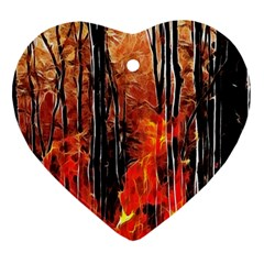 Forest Fire Fractal Background Heart Ornament (two Sides) by Simbadda