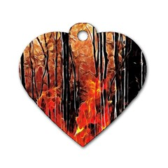 Forest Fire Fractal Background Dog Tag Heart (two Sides) by Simbadda