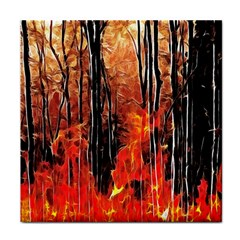Forest Fire Fractal Background Face Towel by Simbadda
