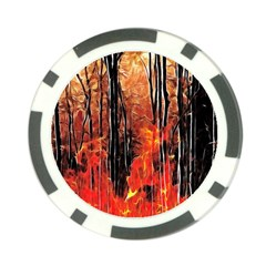 Forest Fire Fractal Background Poker Chip Card Guard (10 Pack)
