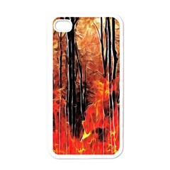 Forest Fire Fractal Background Apple Iphone 4 Case (white)