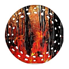 Forest Fire Fractal Background Round Filigree Ornament (two Sides)
