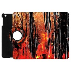 Forest Fire Fractal Background Apple Ipad Mini Flip 360 Case by Simbadda
