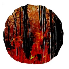Forest Fire Fractal Background Large 18  Premium Round Cushions by Simbadda