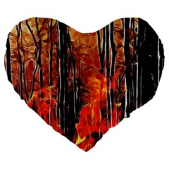Forest Fire Fractal Background Large 19  Premium Heart Shape Cushions by Simbadda