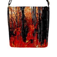 Forest Fire Fractal Background Flap Messenger Bag (l)  by Simbadda