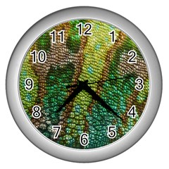 Colorful Chameleon Skin Texture Wall Clocks (silver)