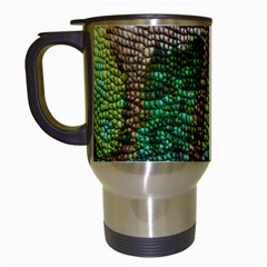 Colorful Chameleon Skin Texture Travel Mugs (white)