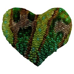 Colorful Chameleon Skin Texture Large 19  Premium Flano Heart Shape Cushions by Simbadda