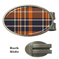 Tartan Background Fabric Design Pattern Money Clips (oval)  by Simbadda