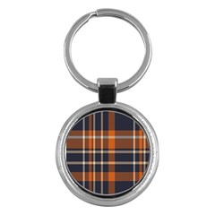 Tartan Background Fabric Design Pattern Key Chains (round)  by Simbadda