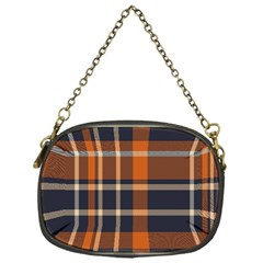 Tartan Background Fabric Design Pattern Chain Purses (one Side)