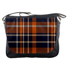 Tartan Background Fabric Design Pattern Messenger Bags by Simbadda