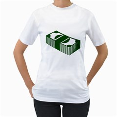 Rich Dollar Money Green Women s T Shirt (white) (two Sided) by Alisyart