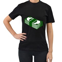Rich Dollar Money Green Women s T Shirt (black) (two Sided)