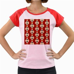Triangle Arrow Plaid Red Women s Cap Sleeve T Shirt