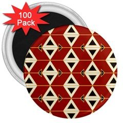 Triangle Arrow Plaid Red 3  Magnets (100 Pack) by Alisyart