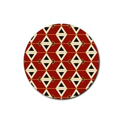 Triangle Arrow Plaid Red Rubber Round Coaster (4 Pack)  by Alisyart