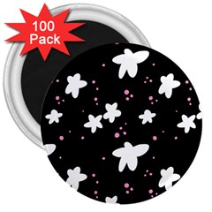 Square Pattern Black Big Flower Floral Pink White Star 3  Magnets (100 Pack) by Alisyart