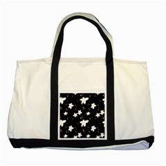 Square Pattern Black Big Flower Floral Pink White Star Two Tone Tote Bag by Alisyart