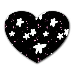 Square Pattern Black Big Flower Floral Pink White Star Heart Mousepads by Alisyart