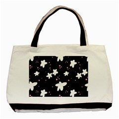Square Pattern Black Big Flower Floral Pink White Star Basic Tote Bag (two Sides) by Alisyart