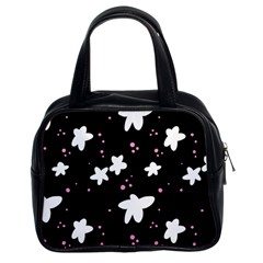 Square Pattern Black Big Flower Floral Pink White Star Classic Handbags (2 Sides) by Alisyart