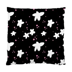 Square Pattern Black Big Flower Floral Pink White Star Standard Cushion Case (one Side) by Alisyart