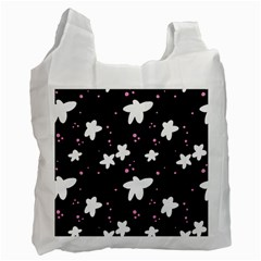 Square Pattern Black Big Flower Floral Pink White Star Recycle Bag (one Side)