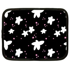 Square Pattern Black Big Flower Floral Pink White Star Netbook Case (xl)  by Alisyart