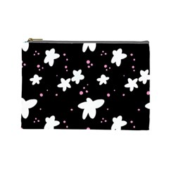 Square Pattern Black Big Flower Floral Pink White Star Cosmetic Bag (large)
