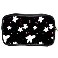 Square Pattern Black Big Flower Floral Pink White Star Toiletries Bags 2 Side by Alisyart