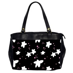 Square Pattern Black Big Flower Floral Pink White Star Office Handbags (2 Sides)  by Alisyart
