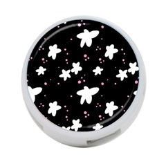 Square Pattern Black Big Flower Floral Pink White Star 4 Port Usb Hub (one Side) by Alisyart