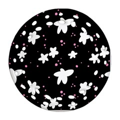 Square Pattern Black Big Flower Floral Pink White Star Round Filigree Ornament (two Sides) by Alisyart