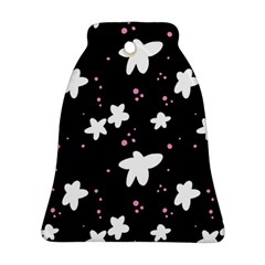 Square Pattern Black Big Flower Floral Pink White Star Bell Ornament (two Sides)