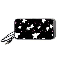 Square Pattern Black Big Flower Floral Pink White Star Portable Speaker (black) by Alisyart