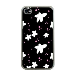 Square Pattern Black Big Flower Floral Pink White Star Apple Iphone 4 Case (clear)