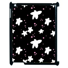 Square Pattern Black Big Flower Floral Pink White Star Apple Ipad 2 Case (black) by Alisyart