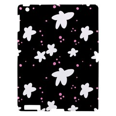 Square Pattern Black Big Flower Floral Pink White Star Apple Ipad 3/4 Hardshell Case by Alisyart