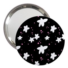 Square Pattern Black Big Flower Floral Pink White Star 3  Handbag Mirrors