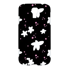 Square Pattern Black Big Flower Floral Pink White Star Samsung Galaxy S4 I9500/i9505 Hardshell Case by Alisyart