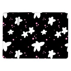 Square Pattern Black Big Flower Floral Pink White Star Samsung Galaxy Tab 10 1  P7500 Flip Case