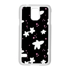 Square Pattern Black Big Flower Floral Pink White Star Samsung Galaxy S5 Case (white)