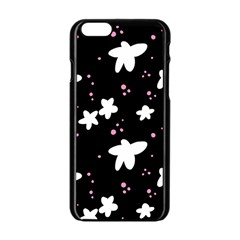 Square Pattern Black Big Flower Floral Pink White Star Apple Iphone 6/6s Black Enamel Case by Alisyart